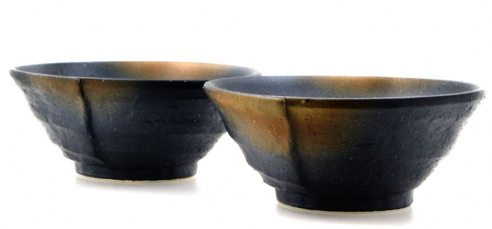 Ammonite Brown ceramic bowls Japanese for two